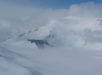 Low clouds over the Transantarctic Mountain range.