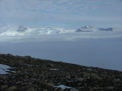 Low fog over the Beardmore Glacier.