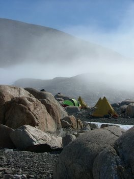 Evening fog creeping into our camp on Mt. Hope.