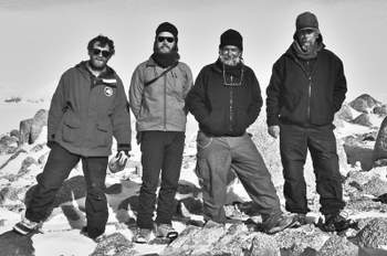ohn Stone, Seth Cowdrey, Maurice Conway, and Twit Conway on top of Mt. Hope