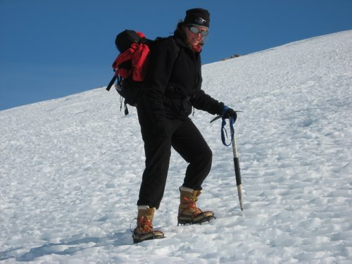 Lesley Urasky navigating the snow/ice field on the side of Mt. Hope.