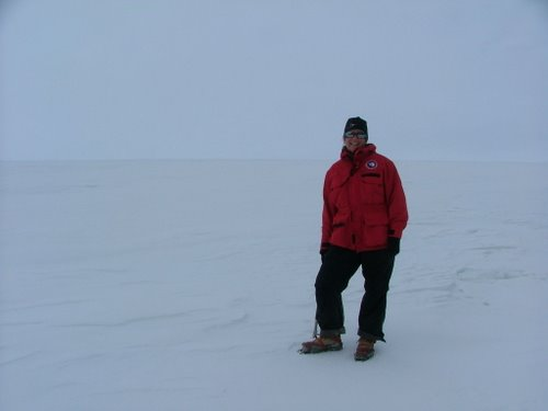 Lesley Urasky standing on the Ross Ice Shelf.