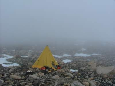 Foggy morning camp on Mt. Kyffin.