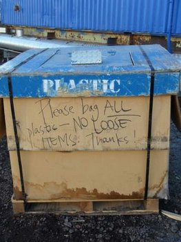 Plastics recycling bin in McMurdo.