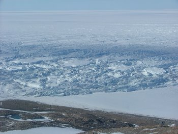 Looking down on the Ross Ice Shelf from the summit of Mt. Hope.