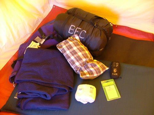 Contents of sleep kit.