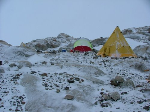 Recent snow on our camp at Mt. Hope.