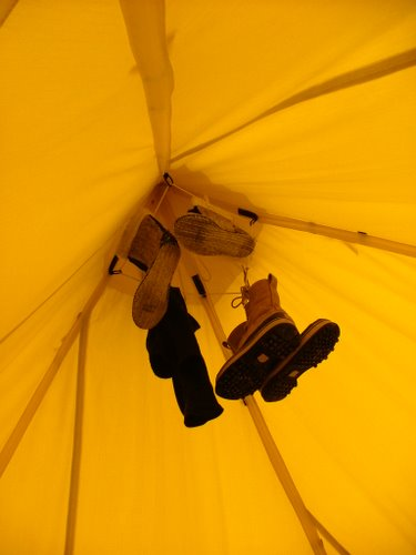 Items drying at the top of a Scott Tent.