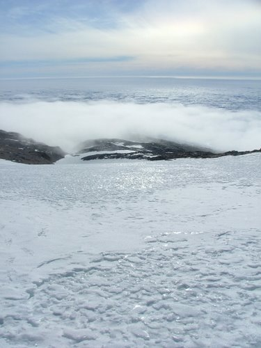 Fog rolling off the Ross Ice Shelf.
