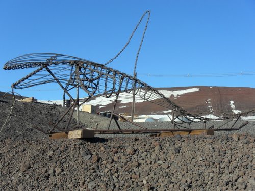 Orca welded from scrap metal, McMurdo