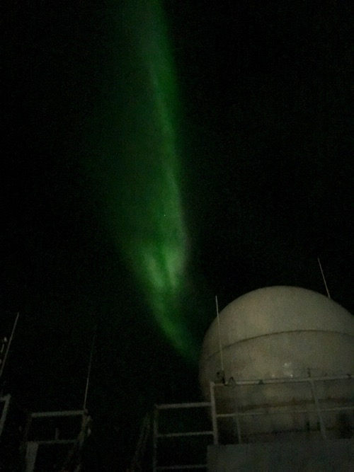 Aurora over the Beaufort Sea onboard the R/V Sikuliaq! September 12, 2017. Photo by Lisa Seff.
