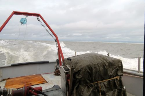 Heading offshore over the Beaufort Sea for transect 6.