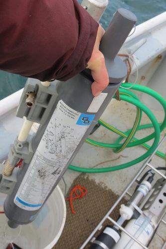 Niskin water sample collection bottle on board the R/V Ukpik.