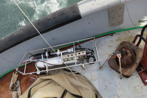 CTD on the deck of the R/V Ukpik.  With egg and ready to go!