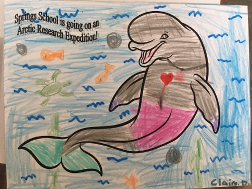 Arctic organism artwork from Springs School Student Claire D.  Photo by Lisa Seff.  August 2017.