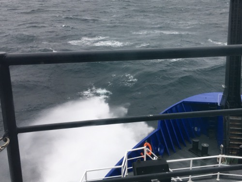 Waves off the bow of the R/V Sikuliaq.