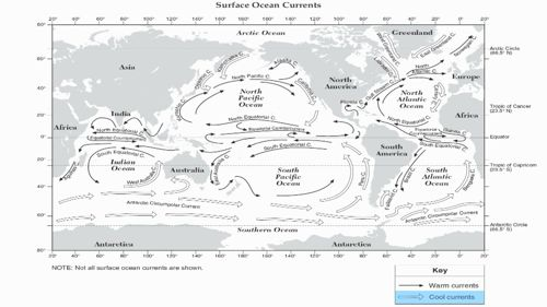 NY Regents Earth Science Reference Tables Ocean Currents.