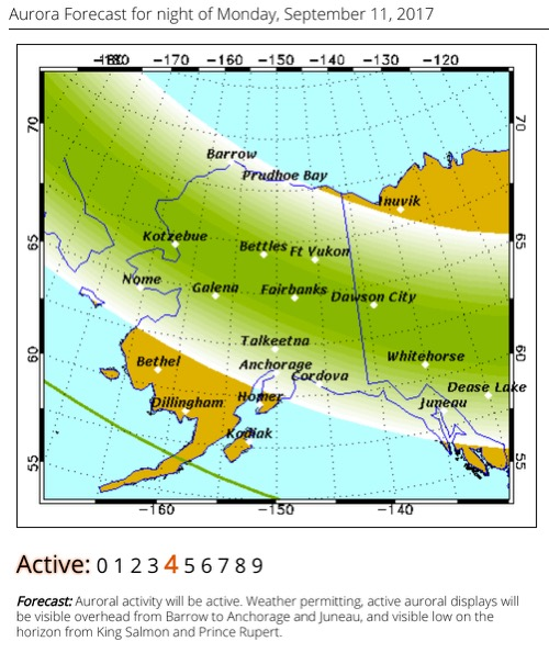 Geophysical Institute, University of Alaska Fairbanks, Aurora Forecast! September 12, 2017.  Screen shot by Lisa Seff.