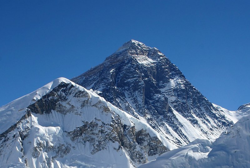 A view of the peak of Mount Everest