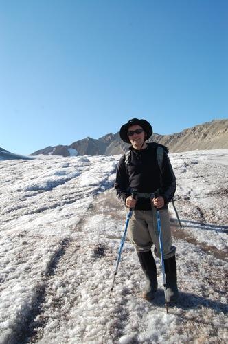 Standing on the Vestre Lovenbreen glacier.