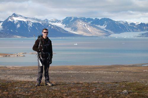 George on a hike outside Ny Ålesund