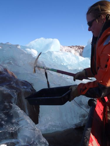 Pulling sediment from a brand new baby iceberg