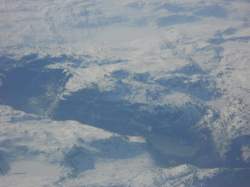 A view of a glacier moraine from the airplane near Oslo
