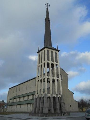 A modern church located nearby
