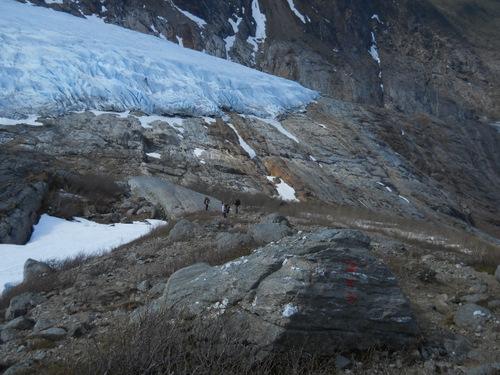 The glacier tongue far below.