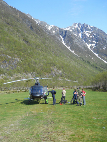 Helicopter preparing for Radar survey.