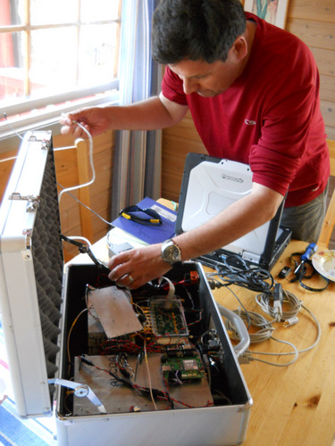 Victor working on electronics