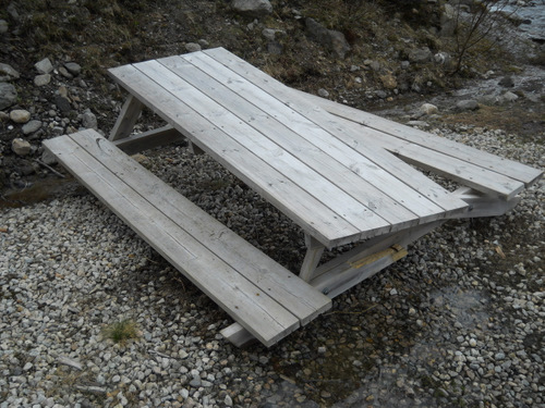 Busted Picnic Bench from Avalanche