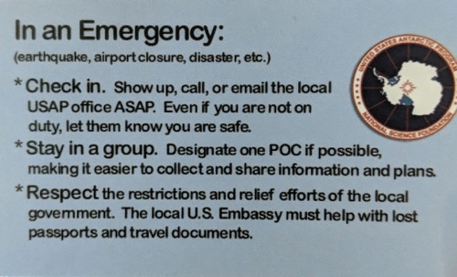 USAP Emergency card