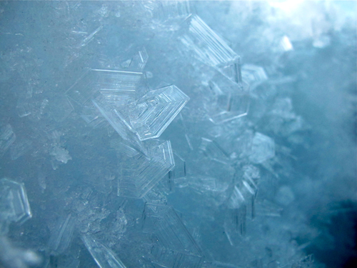 Ice crystals in a crevasse