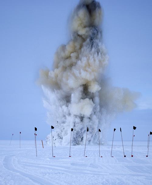 Dynamited crevasse in Antarctica
