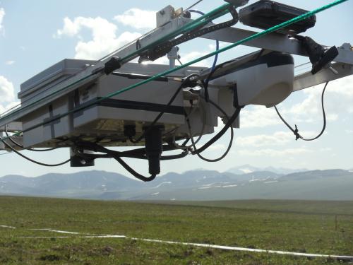 NIMS robotic sensor platform with Brooks Range in background, at Imnaviat site J