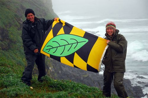 Calvert County Flag above the Bering Sea albeit, upside down!