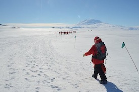 Trekking to the camp site