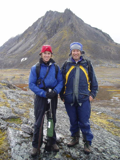 PolarTREC teacher Robert Oddo and student Brooks Motley on Svalbard, Norway.