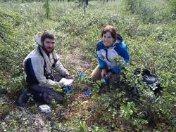 Peter Ganzlin and Bradi Jo Petronio at one of their moss plots. Photo by Mark Paricio.