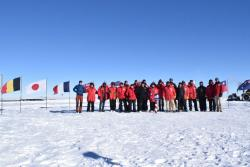 Group photo of all neutrino hunters currently at the ceremonial South Pole. Photo by Rishabh Khandelwal.
