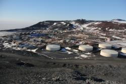 A view of McMurdo Station from Ob Hill. McMurdo Station, Antarctica.