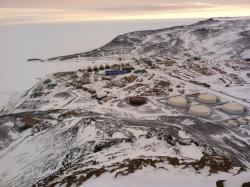 A view of McMurdo Station, Antarctica. Photo by Michael League.