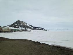 View of McMurdo Station from Hut Point. Photo by Carol Costanza