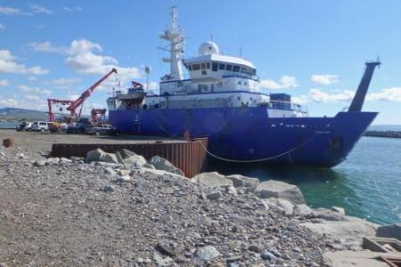 The R/V Sikuliaq docked in Nome, Alaska