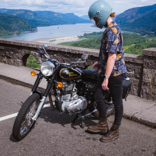 Motorcycle and Columbia River Gorge