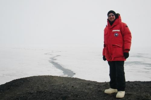 Overlooking the ice shelf near the George T. Vince memorial cross.