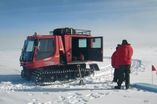Arrival at the ARA 2 site by snowmobile.  The site is located about three kilometers from the main station.