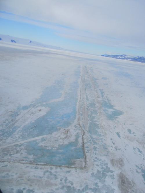 Blue ice on Pegasus Runway