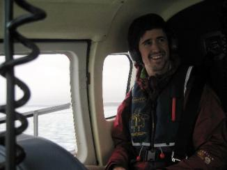 Dave Griffith in the heli